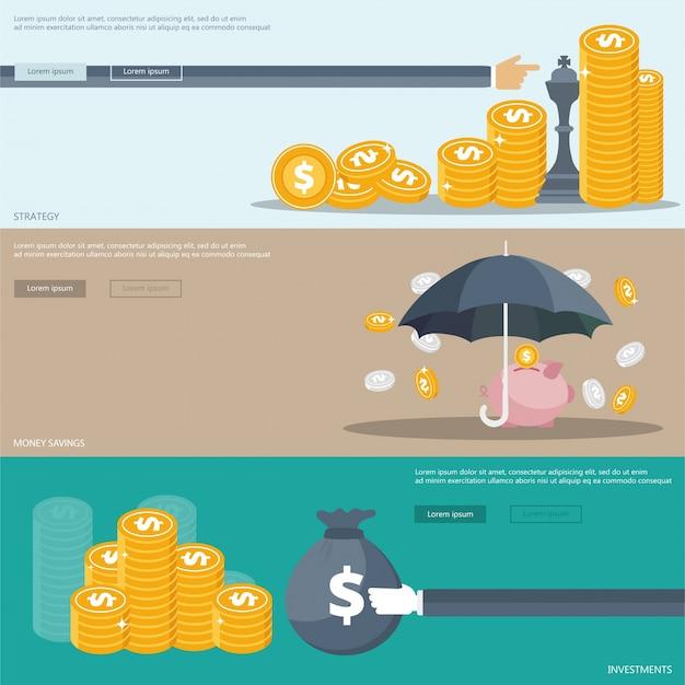 Estratégia, investimentos, banners de poupança