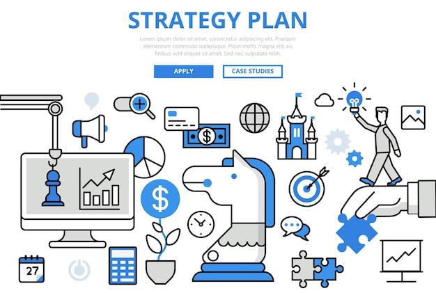 Estratégia plano planejamento estratégico negócios conceito ícones de arte de linha plana.