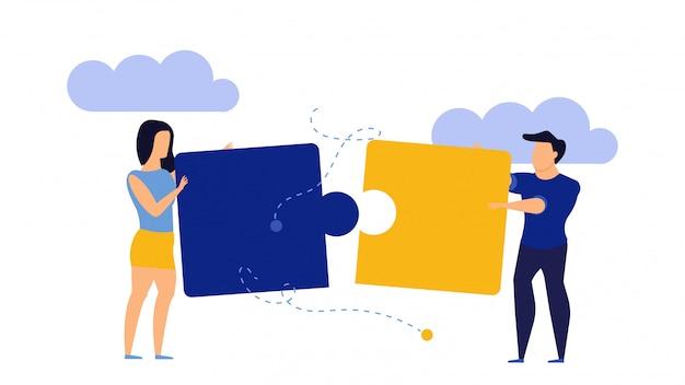 Estratégia quebra-cabeça pessoa sucesso trabalho em equipe vetor negócios ilustração.