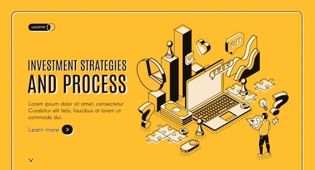 Estratégias de investimento e banner isométrico do processo