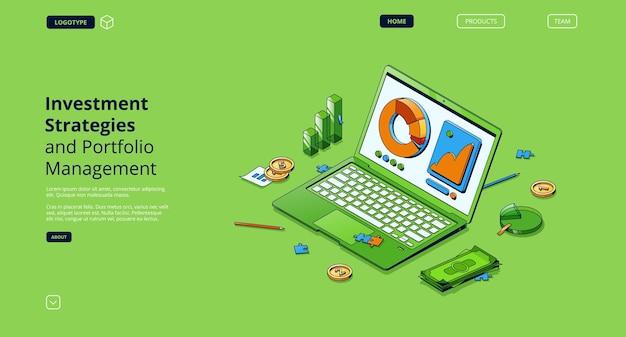 Estratégias de investimento e página de destino isométrica de gerenciamento de portfólio