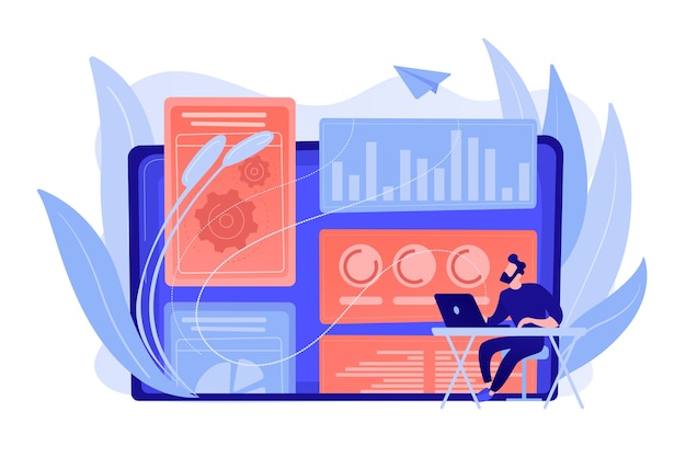Estrategista de marketing digital atuando com tecnologias e mídias digitais. modelagem de atribuição, percepção da marca e conceito de ferramentas de medição. ilustração de vetor isolado de coral rosa