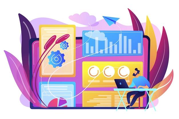 Estrategista de marketing digital atuando com tecnologias e mídias digitais. modelagem de atribuição, percepção da marca e conceito de ferramentas de medição. ilustração isolada violeta vibrante brilhante