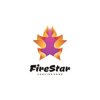 Estrela 3d abstrata e logotipo de chamas de fogo