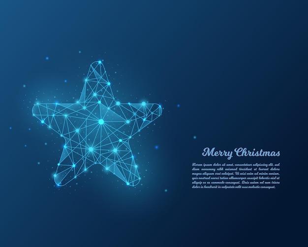 Estrela abstrata de baixo poli azul.