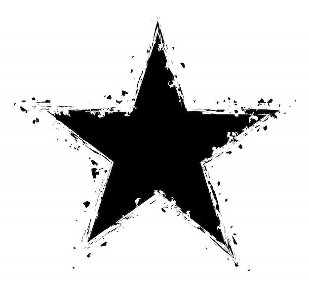 Estrela afligida de grunge isolada