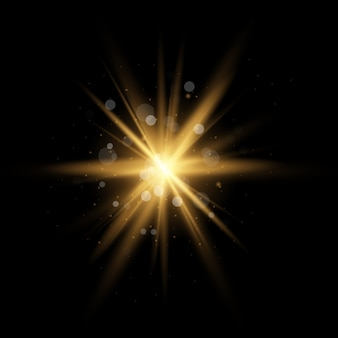 Estrela amarela dourada estourou com poeira e brilho isolado. efeito de luz brilhante com raios e partículas de brilho em fundo transparente.