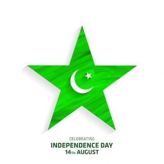 Estrela big criativo com o dia da independência do paquistão lua