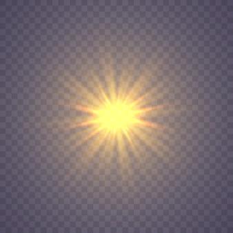 Estrela brilhante, as partículas do sol e faíscas com efeito de destaque, luzes coloridas de bokeh brilham e lantejoulas.