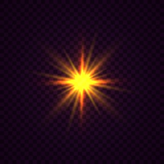 Estrela brilhante, as partículas do sol e faíscas com um efeito de destaque