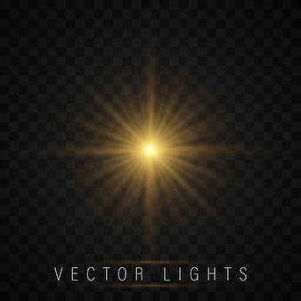 Estrela brilhante, as partículas do sol e faíscas, luzes brilham