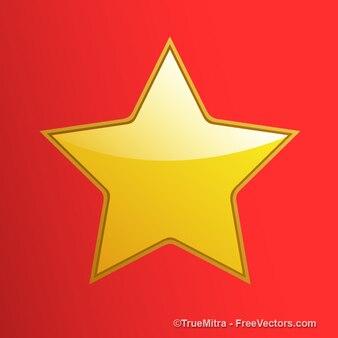 Estrela brilhante do ouro no fundo vermelho