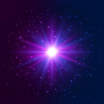 Estrela brilhante. efeito de luz de explosão