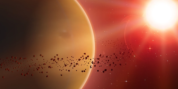 Estrela brilhante, planeta e anel de asteróides ao redor