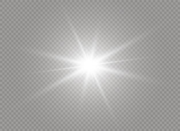 Estrela brilhante. sol brilhante e transparente, flash brilhante. luz branca brilhante explode em um fundo transparente. partículas de poeira mágica cintilante. ilustração. eps 10.