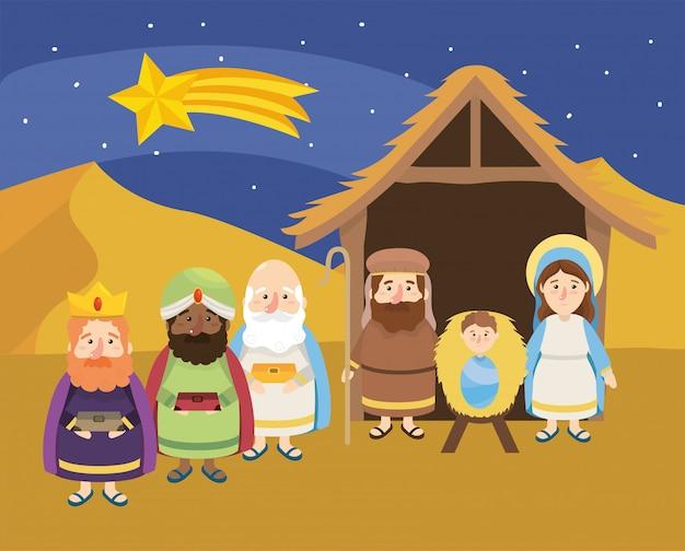 Estrela cadente e magos reis com jesus
