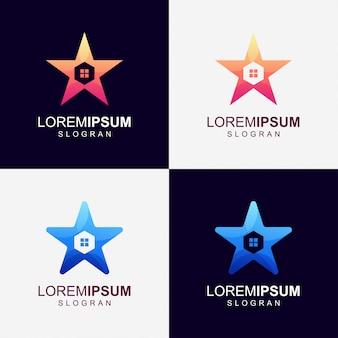 Estrela casa gradiente cor logotipo
