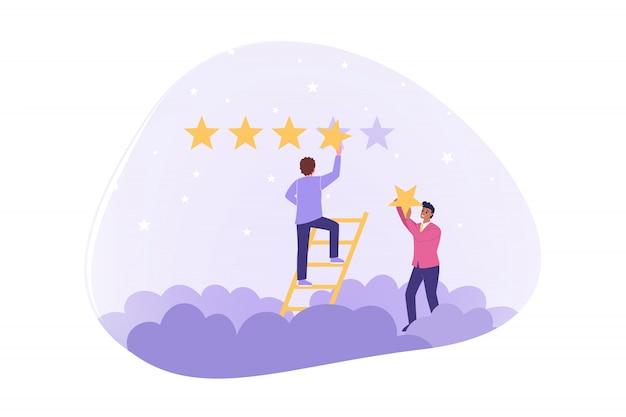 Estrela, classificação, topo, estimativa, conceito de certificação