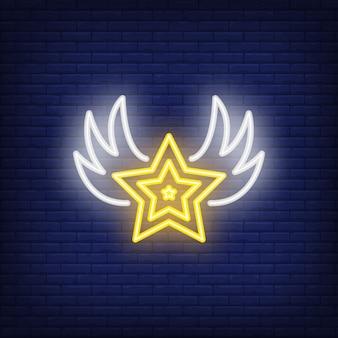 Estrela, com, asas, sinal néon