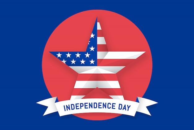 Estrela com bandeira americana e fita com inscrição dia da independência