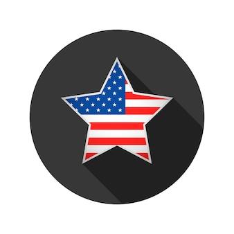 Estrela com bandeira dos eua isolada no branco