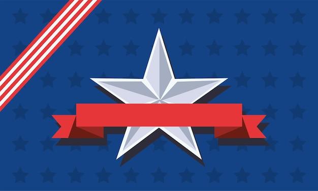 Estrela com fita no dia da independência dos eua