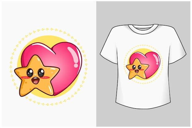 Estrela com ilustração de desenho animado de amor