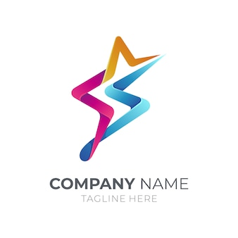 Estrela com o conceito de logotipo letra s