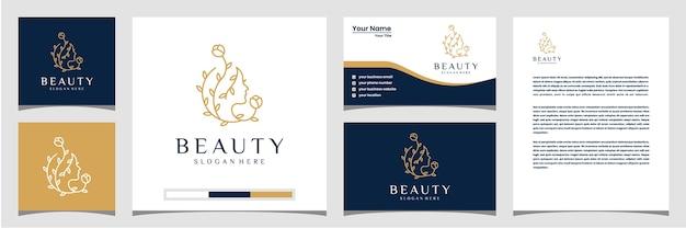 Estrela da flor do rosto de mulher bonita com cartão de visita de logotipo de estilo de linha de arte e papel timbrado. conceito de design abstrato para salão de beleza, massagem, revista, cosméticos.
