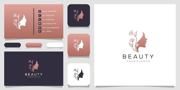 Estrela da flor do rosto de mulher bonita com logotipo de estilo de linha de arte e design de cartão de visita.