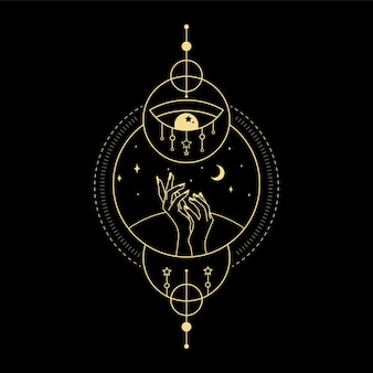 Estrela da lua cristal onda do sol e geometria sagrada para orientação espiritual tatuagem de leitor de tarô