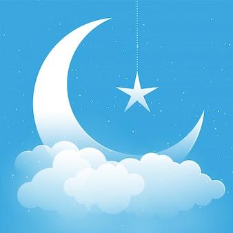 Estrela da lua e fundo de fantasia de nuvens