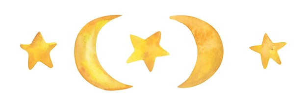 Estrela da lua em aquarela desenhada à mão