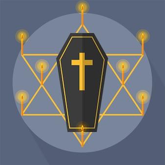 Estrela da luz da vela do caixão