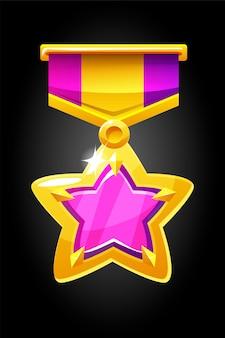 Estrela da medalha de ouro do vetor para o jogo. prêmio com uma gema roxa com uma fita.