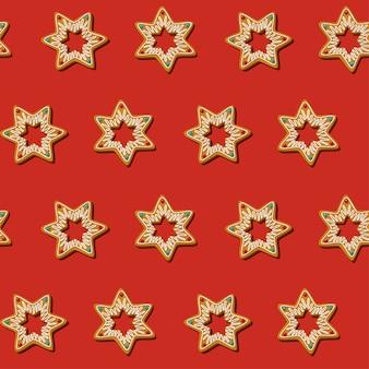 Estrela de biscoitos de natal de gengibre sem emenda. padrão, fundo vermelho. v