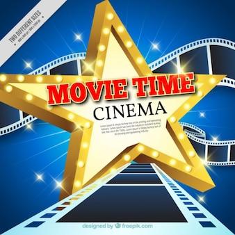 Estrela de cinema com quadros de fundo