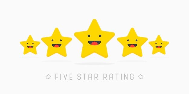 Estrela de classificação cinco dourada com sorriso fofo