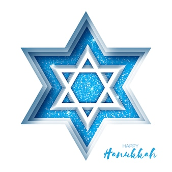 Estrela de david de origami. feliz hanukkah.