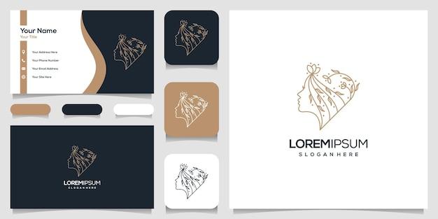 Estrela de flor de rosto de mulher bonita com logotipo de estilo de arte de linha e design de cartão