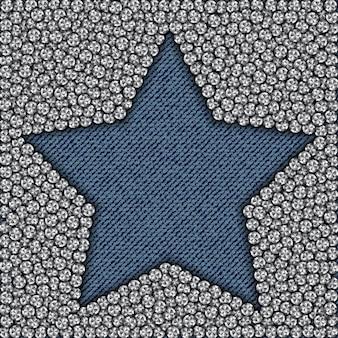 Estrela de jeans azul com diamantes