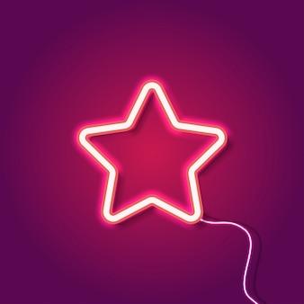Estrela de néon vermelho no fundo roxo
