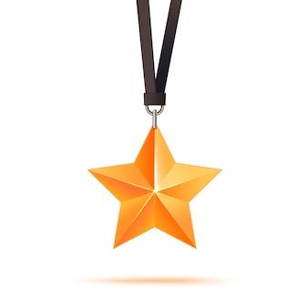 Estrela de ouro 3d realista. vencedor do prêmio. bom trabalho. a melhor recompensa. estrela de cobre a granel. estrela simples. o prêmio pela melhor escolha. classe premium.