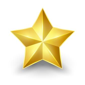 Estrela de ouro brilhante. formulário do primeiro para o projeto no fundo branco.
