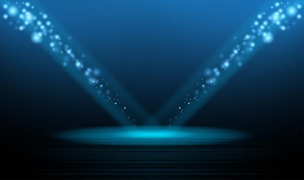 Estrela de palco de pódio de natal e ano novo fundo de noite