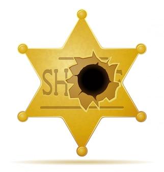 Estrela de xerife com uma ilustração do vetor de buraco de bala