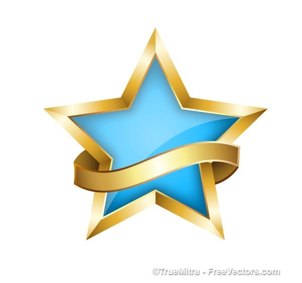 Estrela decorativa com fita dourada
