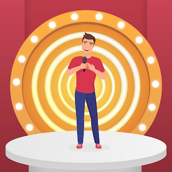 Estrela do cantor masculino cantando música pop com o microfone em pé no palco moderno com lâmpadas.