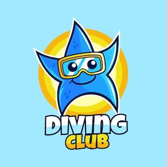Estrela do mar azul mascote vestindo googles mergulho design de logotipo