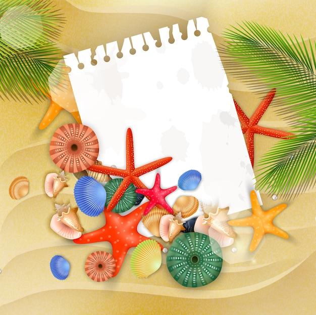 Estrela do mar, conchas e palmeira em fundo de areia